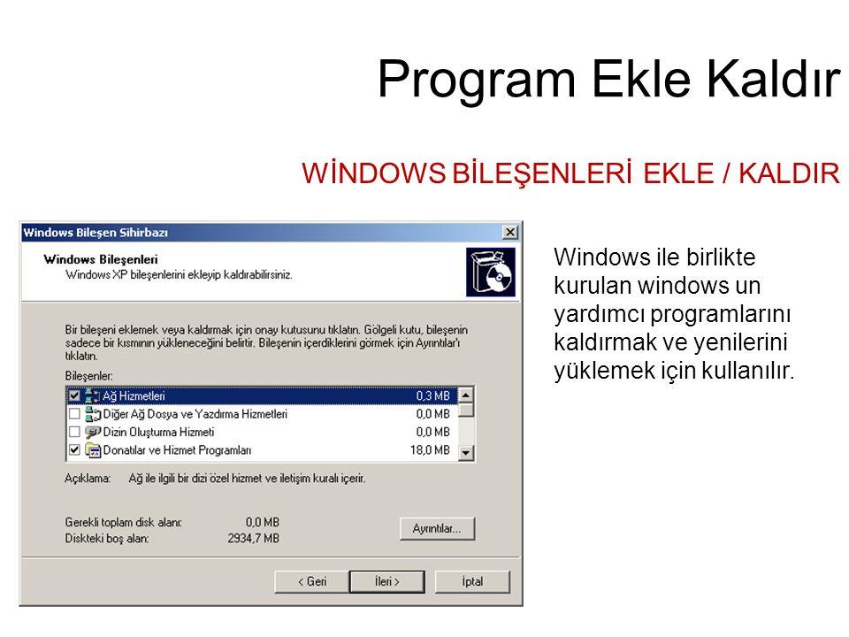Program Ekle Kaldır WİNDOWS BİLEŞENLERİ EKLE / KALDIR Windows ile birlikte kurulan windows un yardımcı programlarını kaldırmak ve yenilerini yüklemek