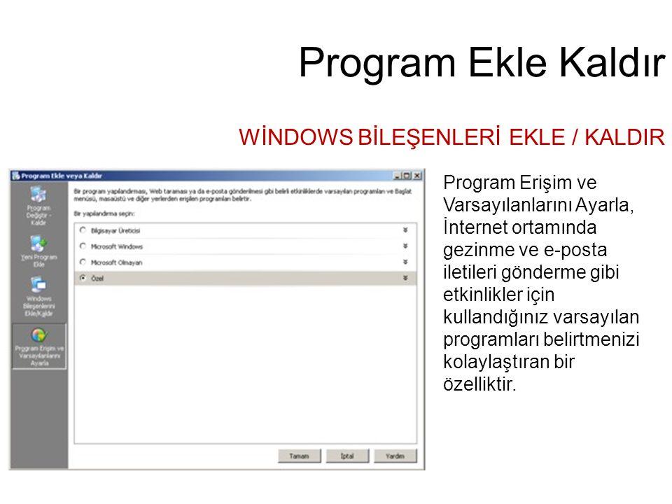 Program Ekle Kaldır WİNDOWS BİLEŞENLERİ EKLE / KALDIR Program Erişim ve Varsayılanlarını Ayarla, İnternet ortamında gezinme ve e-posta iletileri gönde