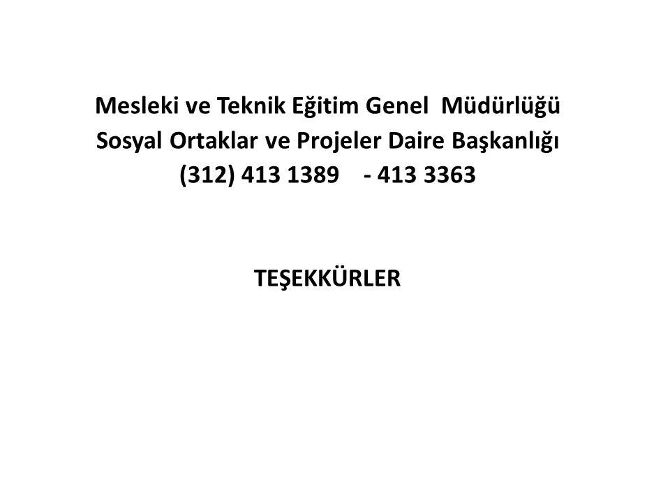 Mesleki ve Teknik Eğitim Genel Müdürlüğü Sosyal Ortaklar ve Projeler Daire Başkanlığı (312) 413 1389 - 413 3363 TEŞEKKÜRLER