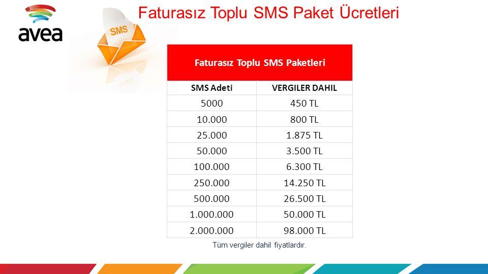 Tüm vergiler dahil fiyatlardır. Faturasız Toplu SMS Paket Ücretleri Faturasız Toplu SMS Paketleri SMS AdetiVERGILER DAHIL 5000450 TL 10.000800 TL 25.0