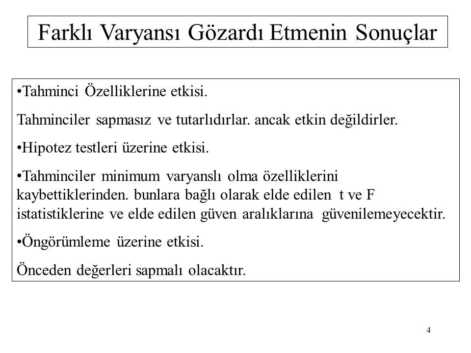 Farklı Varyans ile Karşılaşılan Durumlar Kesit Verilerinde.