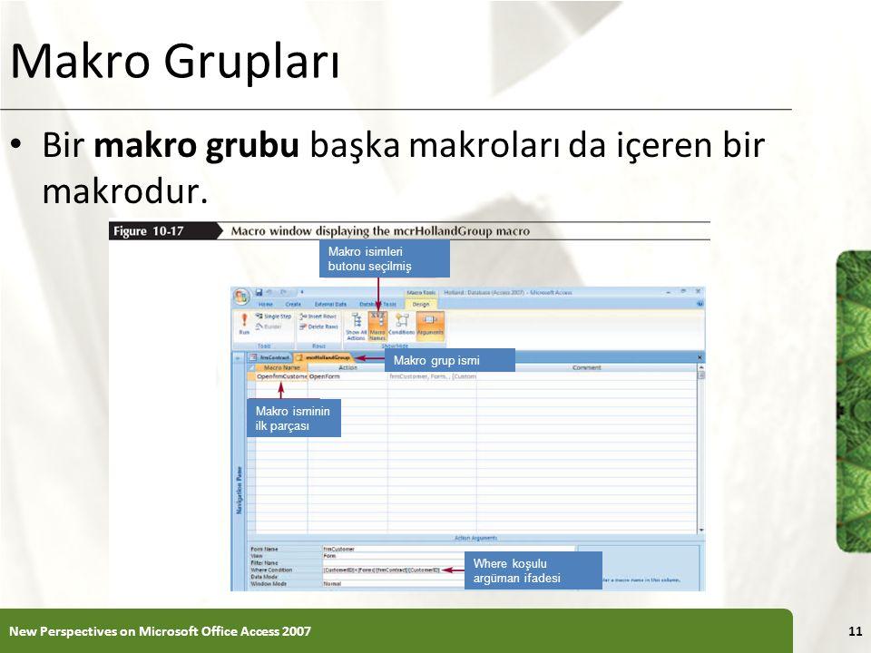 XP Makro Grupları Bir makro grubu başka makroları da içeren bir makrodur.