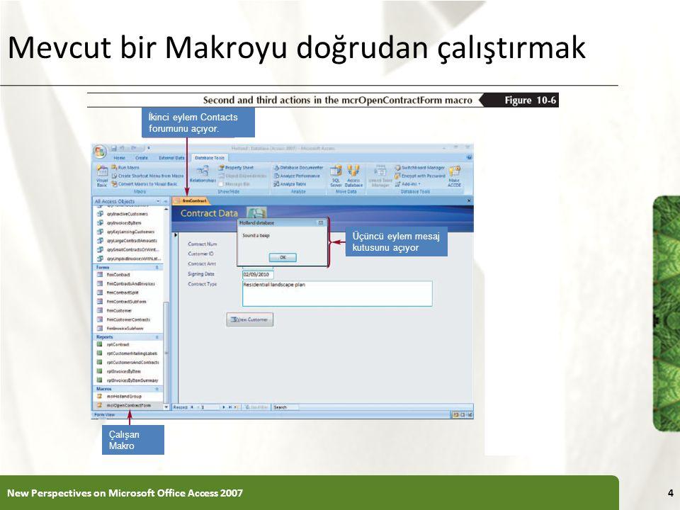 XP Mevcut bir Makroyu doğrudan çalıştırmak New Perspectives on Microsoft Office Access 20074 İkinci eylem Contacts forumunu açıyor.