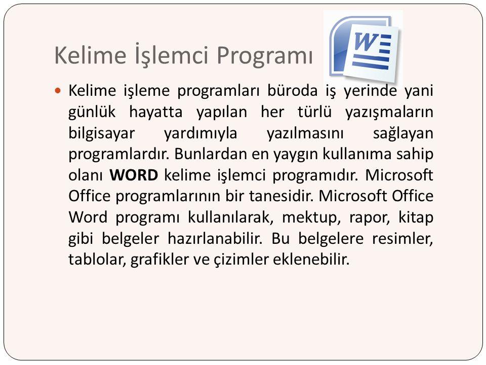 Kelime İşlemci Programı Kelime işleme programları büroda iş yerinde yani günlük hayatta yapılan her türlü yazışmaların bilgisayar yardımıyla yazılması