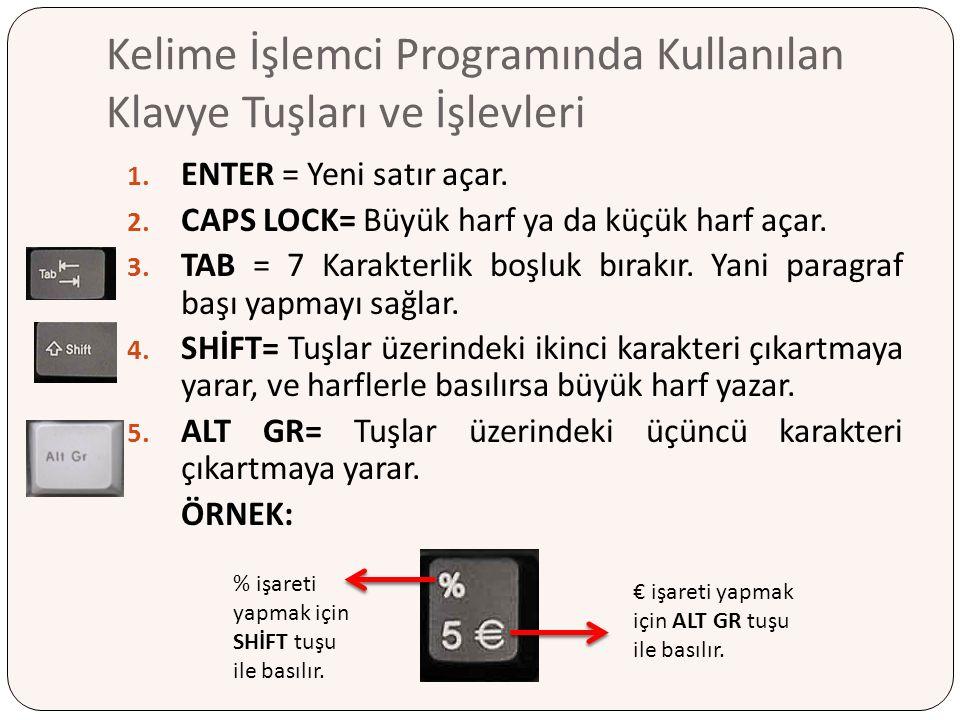 Kelime İşlemci Programında Kullanılan Klavye Tuşları ve İşlevleri 1. ENTER = Yeni satır açar. 2. CAPS LOCK= Büyük harf ya da küçük harf açar. 3. TAB =