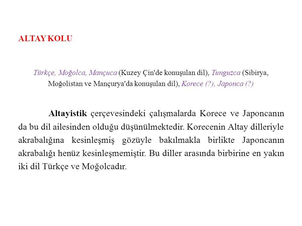 ALTAY KOLU Türkçe, Moğolca, Mançuca (Kuzey Çin de konuşulan dil), Tunguzca (Sibirya, Moğolistan ve Mançurya da konuşulan dil), Korece (?), Japonca (?) Altayistik çerçevesindeki çalışmalarda Korece ve Japoncanın da bu dil ailesinden olduğu düşünülmektedir.
