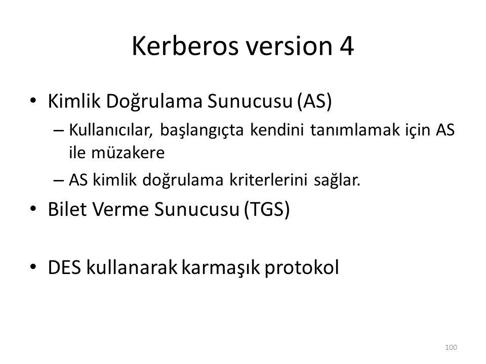 Kerberos version 4 Kimlik Doğrulama Sunucusu (AS) – Kullanıcılar, başlangıçta kendini tanımlamak için AS ile müzakere – AS kimlik doğrulama kriterleri