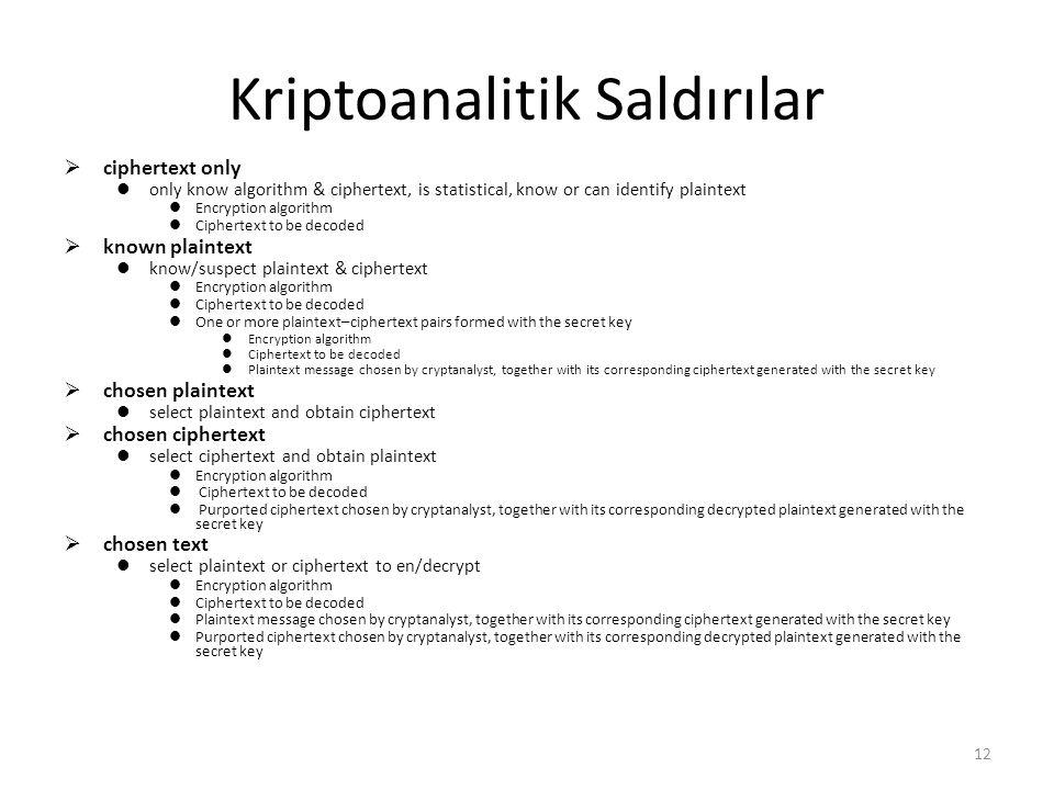 Kriptoanalitik Saldırılar  ciphertext only only know algorithm & ciphertext, is statistical, know or can identify plaintext Encryption algorithm Ciph