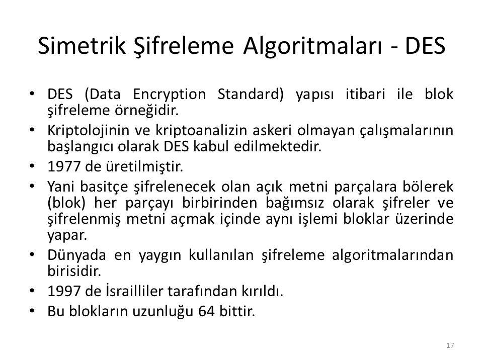 Simetrik Şifreleme Algoritmaları - DES DES (Data Encryption Standard) yapısı itibari ile blok şifreleme örneğidir. Kriptolojinin ve kriptoanalizin ask