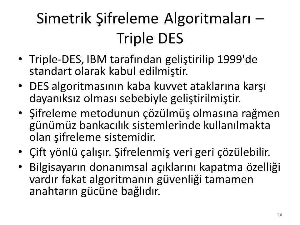 Simetrik Şifreleme Algoritmaları – Triple DES Triple-DES, IBM tarafından geliştirilip 1999'de standart olarak kabul edilmiştir. DES algoritmasının kab