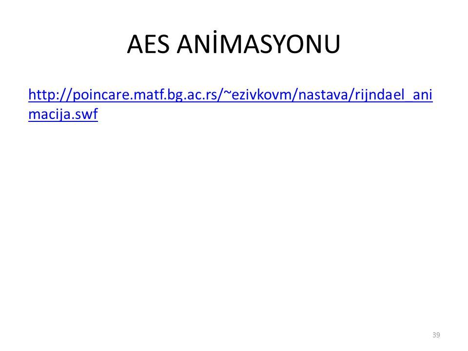 AES ANİMASYONU http://poincare.matf.bg.ac.rs/~ezivkovm/nastava/rijndael_ani macija.swf 39