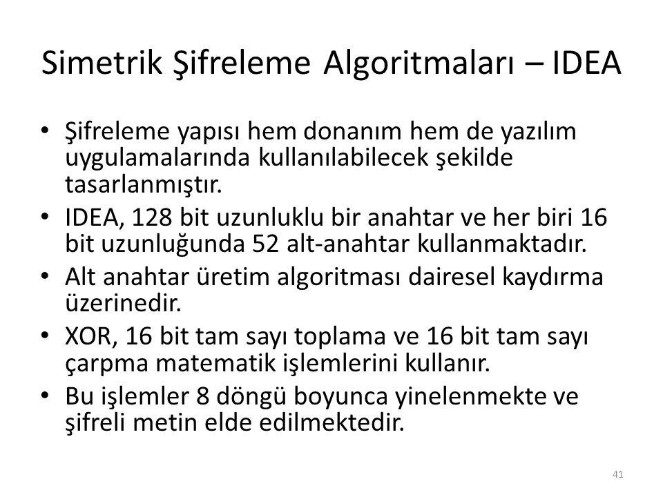 Simetrik Şifreleme Algoritmaları – IDEA Şifreleme yapısı hem donanım hem de yazılım uygulamalarında kullanılabilecek şekilde tasarlanmıştır. IDEA, 128