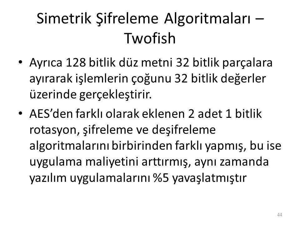 Simetrik Şifreleme Algoritmaları – Twofish Ayrıca 128 bitlik düz metni 32 bitlik parçalara ayırarak işlemlerin çoğunu 32 bitlik değerler üzerinde gerç