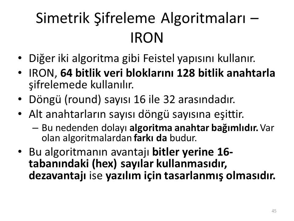 Simetrik Şifreleme Algoritmaları – IRON Diğer iki algoritma gibi Feistel yapısını kullanır. IRON, 64 bitlik veri bloklarını 128 bitlik anahtarla şifre