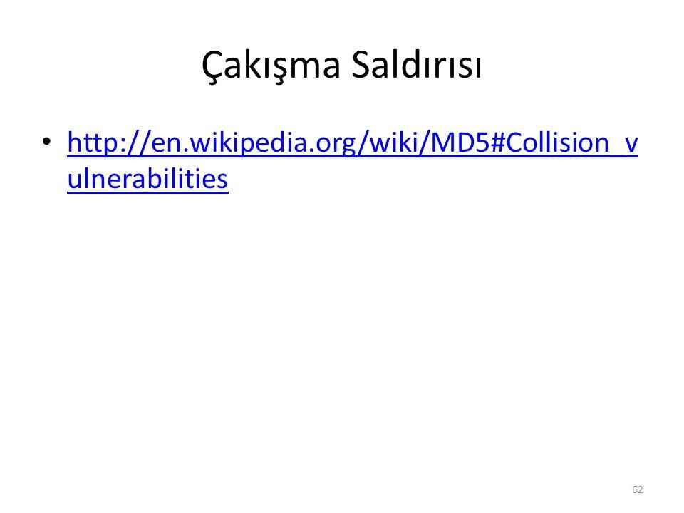 Çakışma Saldırısı http://en.wikipedia.org/wiki/MD5#Collision_v ulnerabilities http://en.wikipedia.org/wiki/MD5#Collision_v ulnerabilities 62