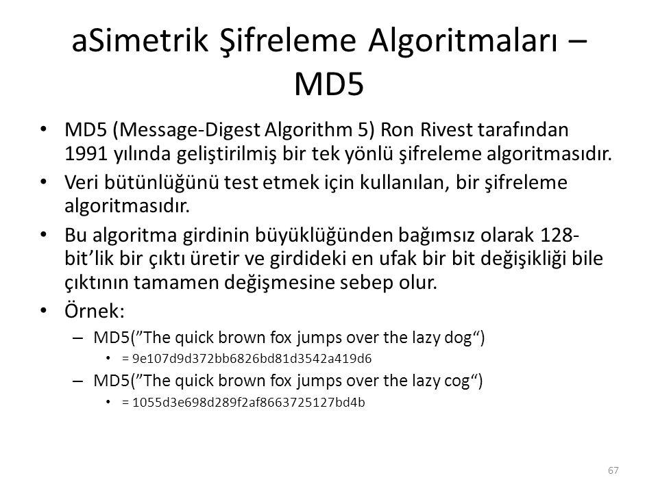 aSimetrik Şifreleme Algoritmaları – MD5 MD5 (Message-Digest Algorithm 5) Ron Rivest tarafından 1991 yılında geliştirilmiş bir tek yönlü şifreleme algo