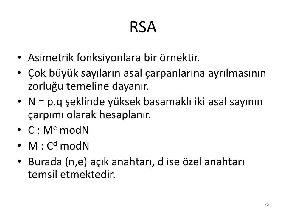 RSA Asimetrik fonksiyonlara bir örnektir. Çok büyük sayıların asal çarpanlarına ayrılmasının zorluğu temeline dayanır. N = p.q şeklinde yüksek basamak