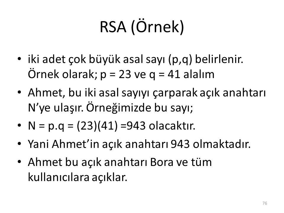 RSA (Örnek) iki adet çok büyük asal sayı (p,q) belirlenir. Örnek olarak; p = 23 ve q = 41 alalım Ahmet, bu iki asal sayıyı çarparak açık anahtarı N'ye