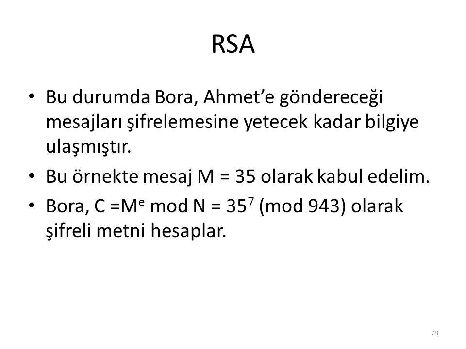 RSA Bu durumda Bora, Ahmet'e göndereceği mesajları şifrelemesine yetecek kadar bilgiye ulaşmıştır. Bu örnekte mesaj M = 35 olarak kabul edelim. Bora,
