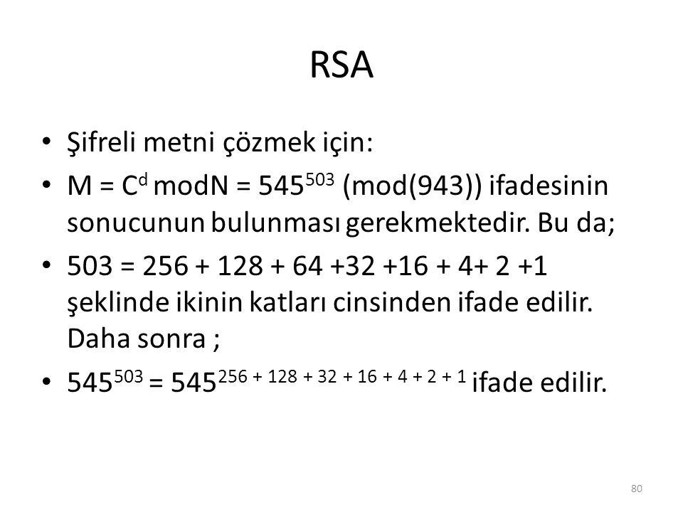 RSA Şifreli metni çözmek için: M = C d modN = 545 503 (mod(943)) ifadesinin sonucunun bulunması gerekmektedir. Bu da; 503 = 256 + 128 + 64 +32 +16 + 4