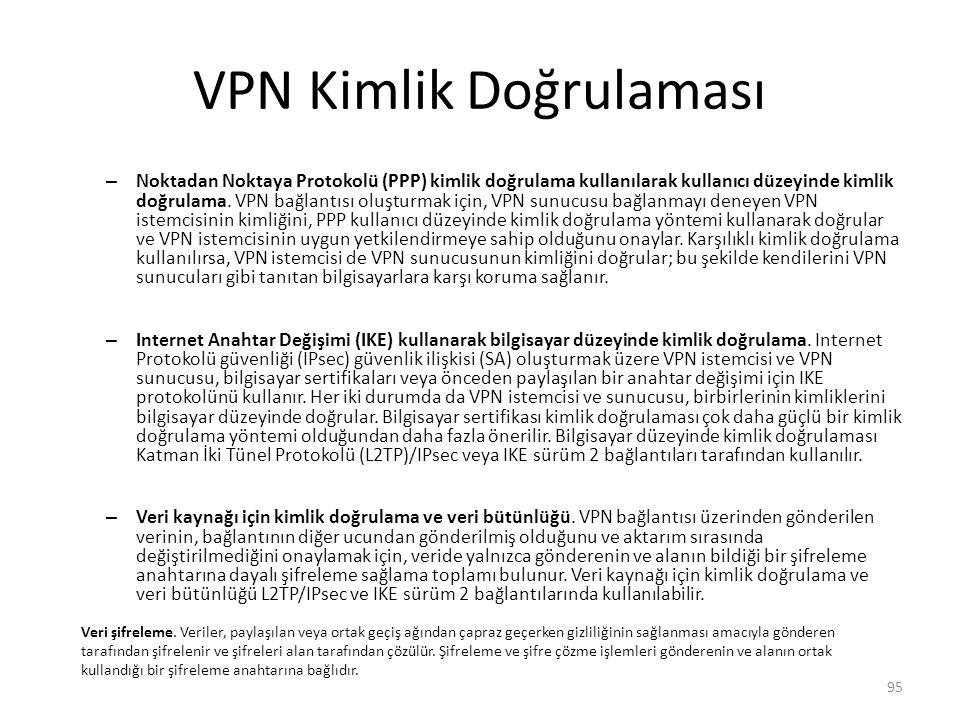 VPN Kimlik Doğrulaması – Noktadan Noktaya Protokolü (PPP) kimlik doğrulama kullanılarak kullanıcı düzeyinde kimlik doğrulama. VPN bağlantısı oluşturma