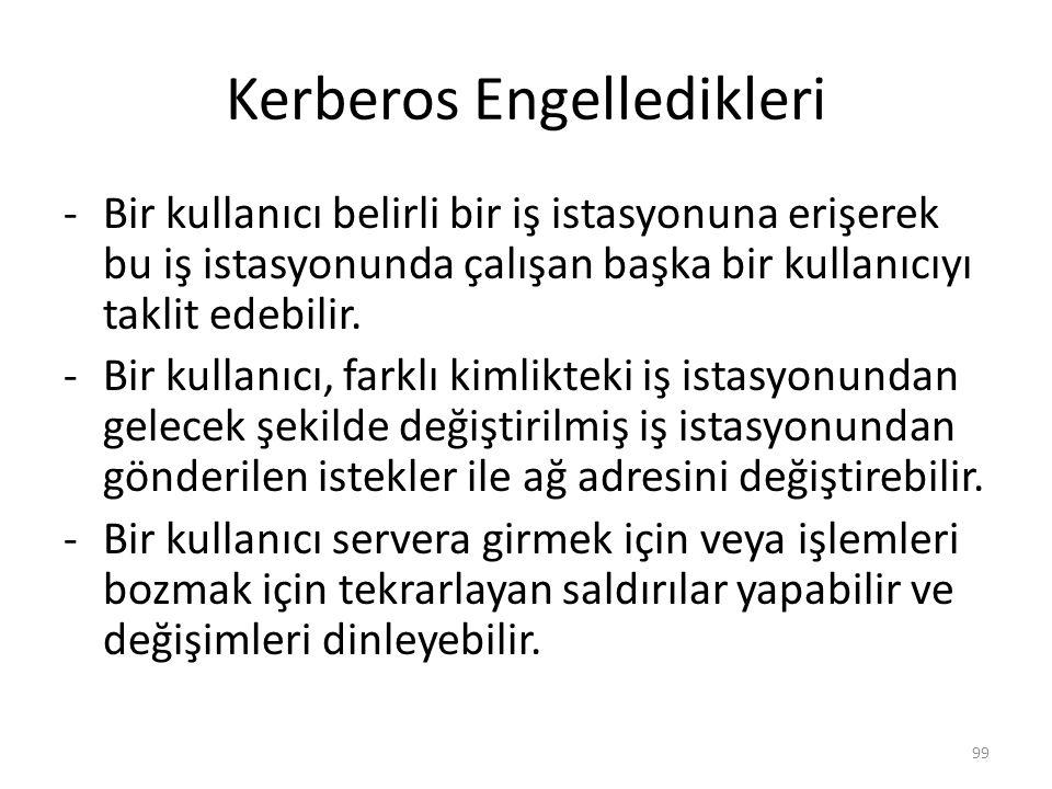 Kerberos Engelledikleri -Bir kullanıcı belirli bir iş istasyonuna erişerek bu iş istasyonunda çalışan başka bir kullanıcıyı taklit edebilir. -Bir kull