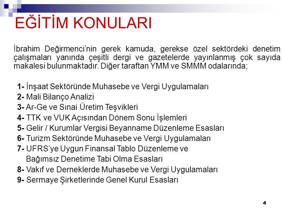 4 4 EĞİTİM KONULARI İbrahim Değirmenci'nin gerek kamuda, gerekse özel sektördeki denetim çalışmaları yanında çeşitli dergi ve gazetelerde yayınlanmış çok sayıda makalesi bulunmaktadır.