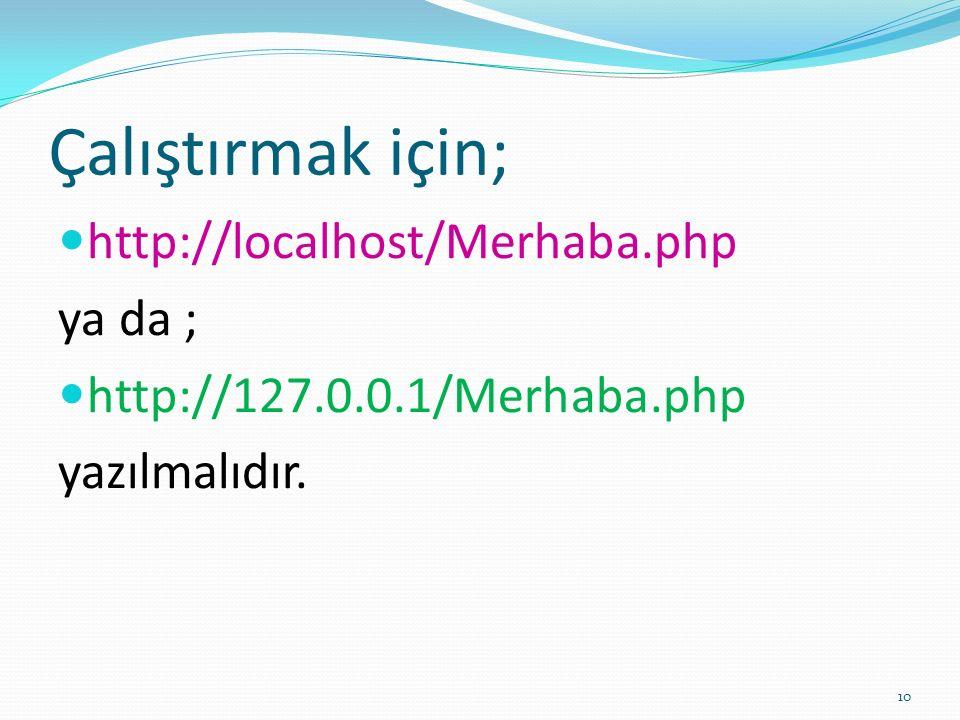 Çalıştırmak için; http://localhost/Merhaba.php ya da ; http://127.0.0.1/Merhaba.php yazılmalıdır. 10