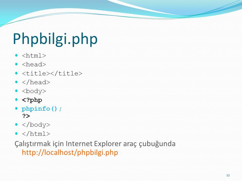 Phpbilgi.php <?php phpinfo(); ?> Çalıştırmak için Internet Explorer araç çubuğunda http://localhost/phpbilgi.php 12