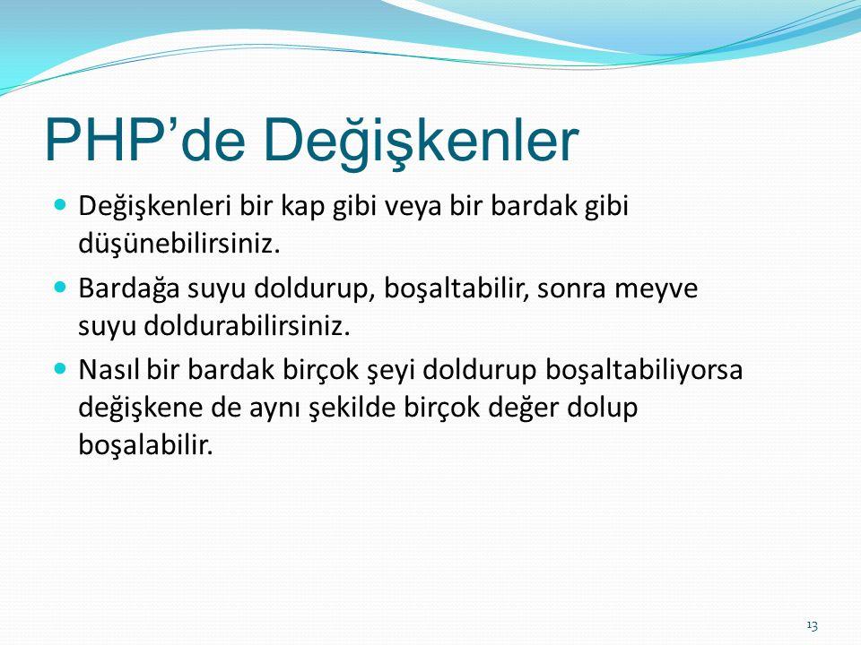 PHP'de Değişkenler Değişkenleri bir kap gibi veya bir bardak gibi düşünebilirsiniz. Bardağa suyu doldurup, boşaltabilir, sonra meyve suyu doldurabilir