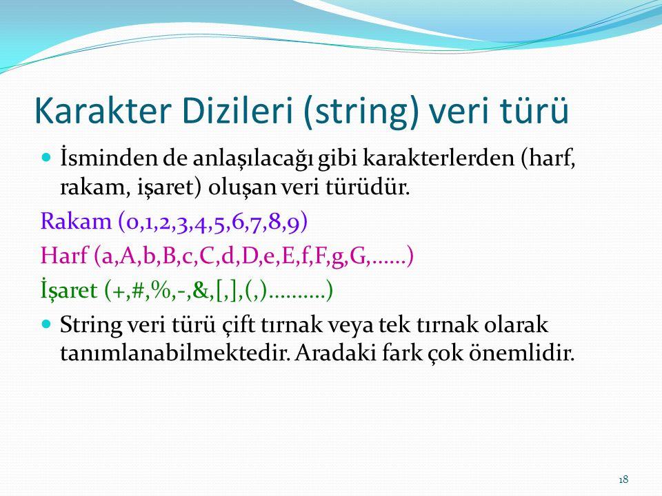 Karakter Dizileri (string) veri türü İsminden de anlaşılacağı gibi karakterlerden (harf, rakam, işaret) oluşan veri türüdür. Rakam (0,1,2,3,4,5,6,7,8,