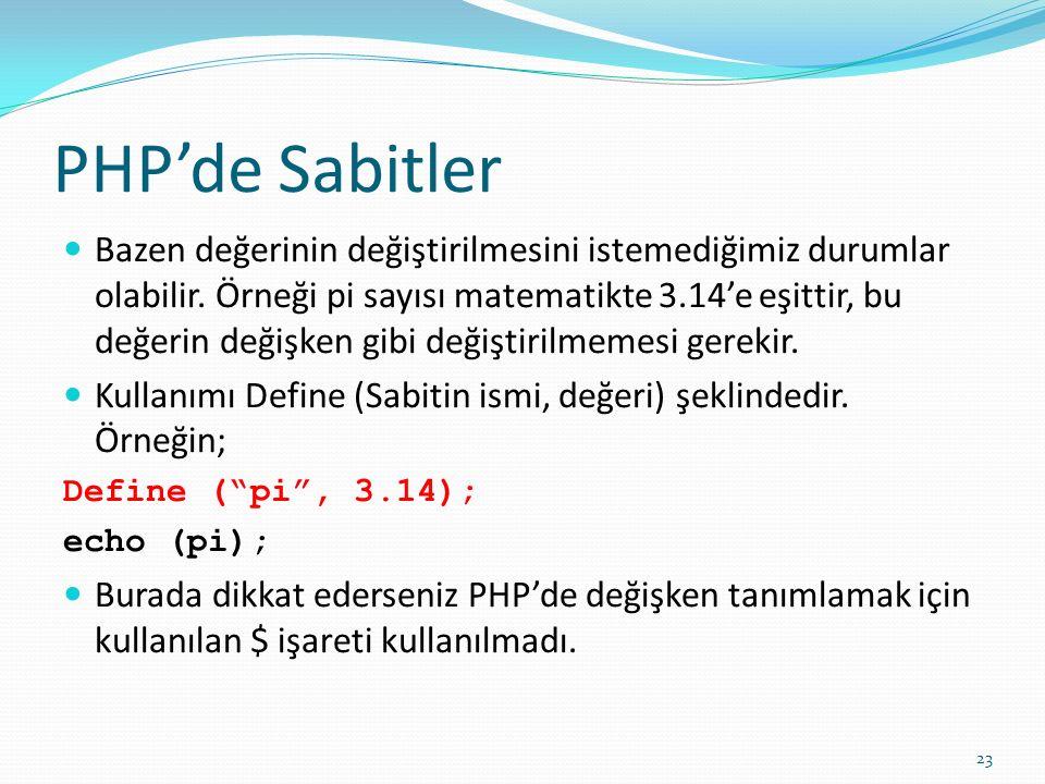 PHP'de Sabitler Bazen değerinin değiştirilmesini istemediğimiz durumlar olabilir. Örneği pi sayısı matematikte 3.14'e eşittir, bu değerin değişken gib