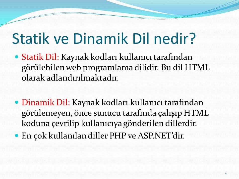 Statik ve Dinamik Dil nedir? Statik Dil: Kaynak kodları kullanıcı tarafından görülebilen web programlama dilidir. Bu dil HTML olarak adlandırılmaktadı