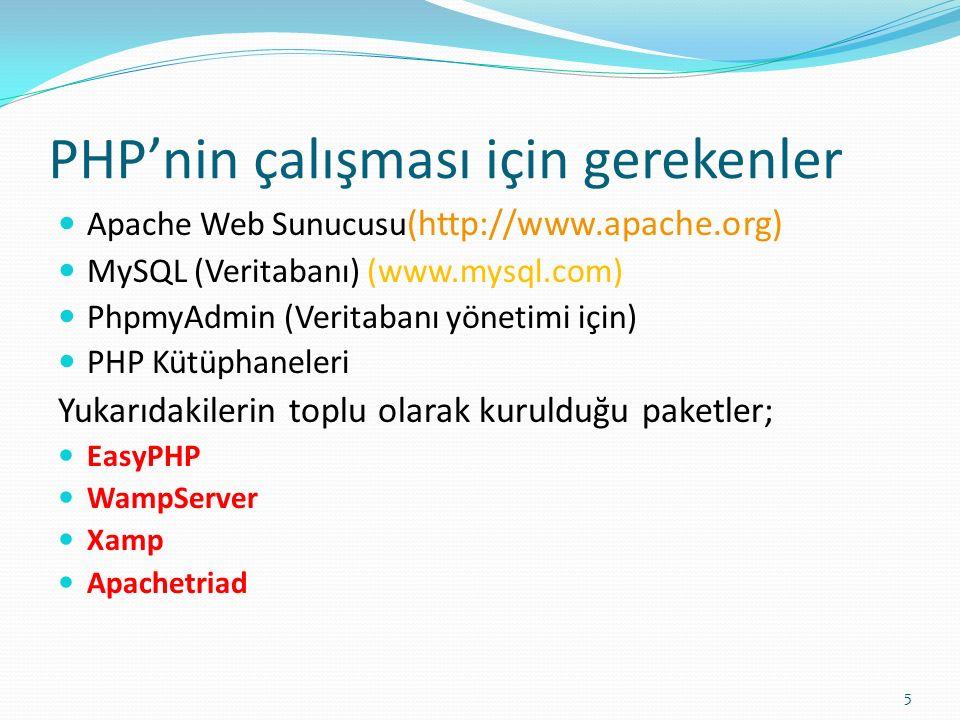 PHP'nin çalışması için gerekenler Apache Web Sunucusu (http://www.apache.org) MySQL (Veritabanı) (www.mysql.com) PhpmyAdmin (Veritabanı yönetimi için)