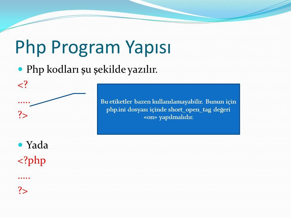 Php Program Yapısı Php kodları şu şekilde yazılır. <? ….. ?> Yada <?php ….. ?> Bu etiketler bazen kullanılamayabilir. Bunun için php.ini dosyası içind