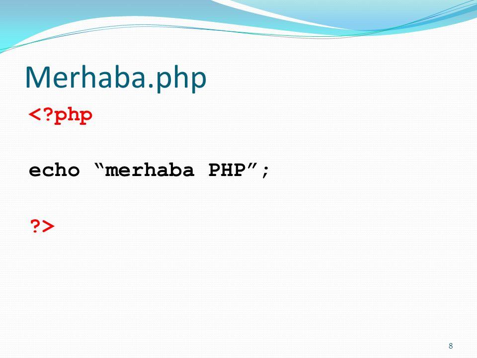 Çalıştırmak için; Merhaba.php dosyasını Windows'ta Not Defteri'nde yazarak oluşturup;  Wamp kullanıyorsanız ; c:\Wamp\htdocs dizinine;  EasyPHP kullanıyorsanız c:\ProgramFiles\EasyPHP\htdocs klasörüne kaydediniz.