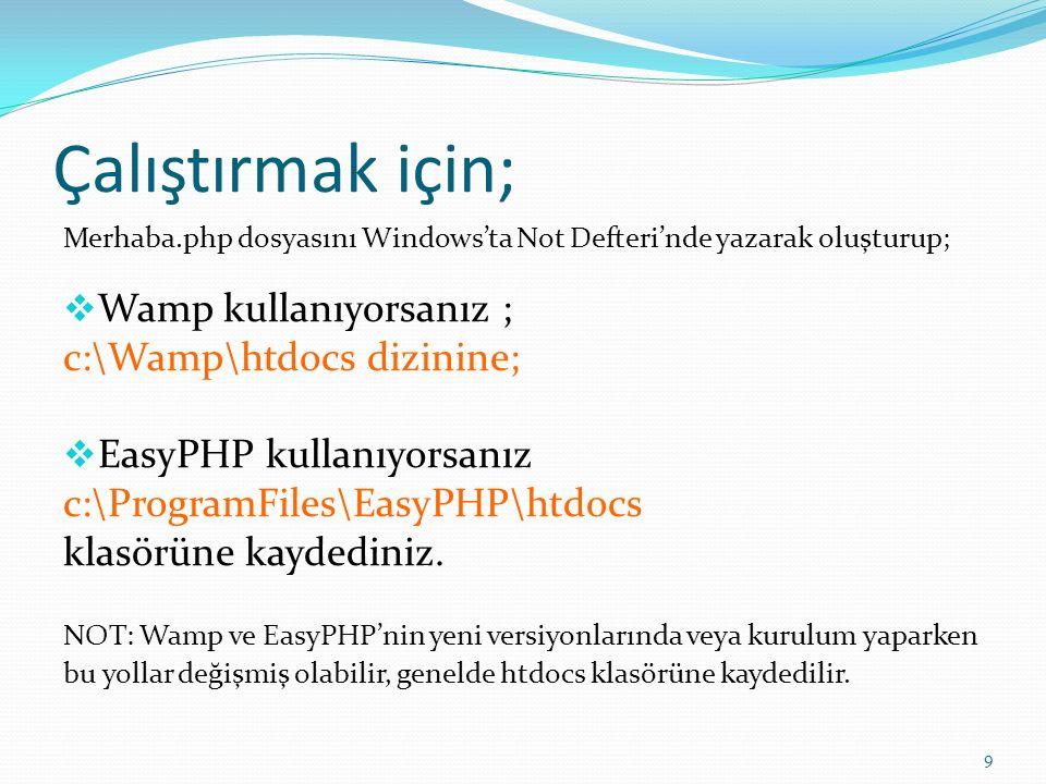 Çalıştırmak için; Merhaba.php dosyasını Windows'ta Not Defteri'nde yazarak oluşturup;  Wamp kullanıyorsanız ; c:\Wamp\htdocs dizinine;  EasyPHP kull