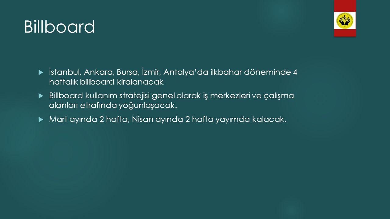 Billboard  İstanbul, Ankara, Bursa, İzmir, Antalya'da ilkbahar döneminde 4 haftalık billboard kiralanacak  Billboard kullanım stratejisi genel olarak iş merkezleri ve çalışma alanları etrafında yoğunlaşacak.