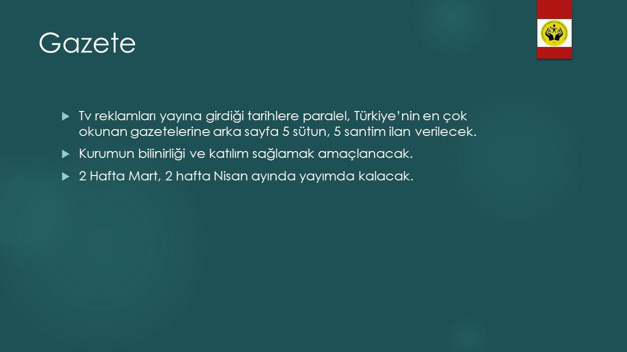 Gazete  Tv reklamları yayına girdiği tarihlere paralel, Türkiye'nin en çok okunan gazetelerine arka sayfa 5 sütun, 5 santim ilan verilecek.