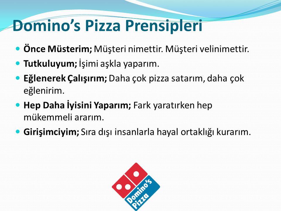 Domino's Pizza Prensipleri Önce Müsterim; Müşteri nimettir. Müşteri velinimettir. Tutkuluyum; İşimi aşkla yaparım. Eğlenerek Çalışırım; Daha çok pizza