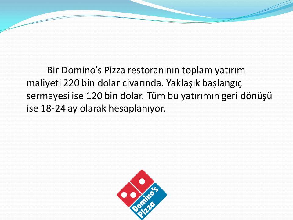 Bir Domino's Pizza restoranının toplam yatırım maliyeti 220 bin dolar civarında. Yaklaşık başlangıç sermayesi ise 120 bin dolar. Tüm bu yatırımın geri