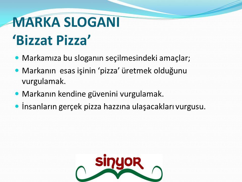 MARKA SLOGANI 'Bizzat Pizza' Markamıza bu sloganın seçilmesindeki amaçlar; Markanın esas işinin 'pizza' üretmek olduğunu vurgulamak. Markanın kendine