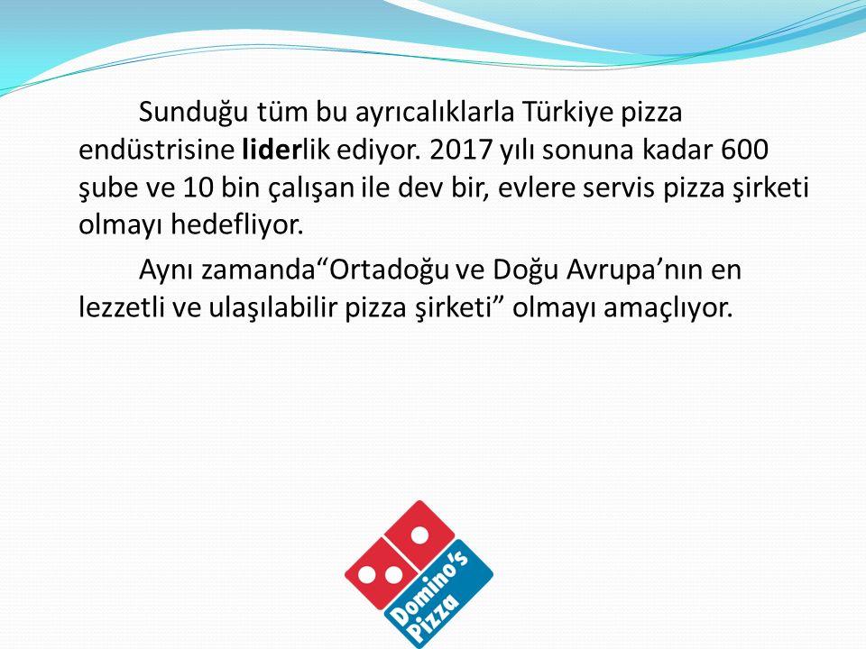 1996 yılında Türkiye de ilk şubesini Ulus ta açan Domino s Pizza Türkiye olarak şu an, İstanbul, İzmir, Ankara ve Bursa başta olmak üzere 62 ile yayılmış 400 şubesi ile Türkiye pizza endüstrisine öncülük ediyor.