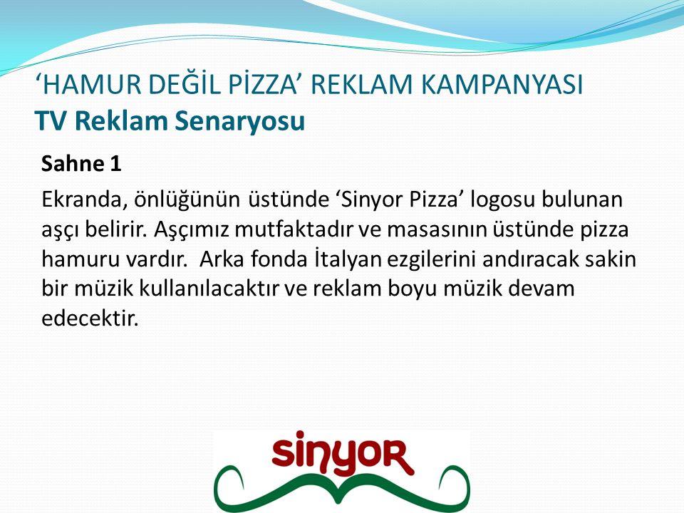 'HAMUR DEĞİL PİZZA' REKLAM KAMPANYASI TV Reklam Senaryosu Sahne 1 Ekranda, önlüğünün üstünde 'Sinyor Pizza' logosu bulunan aşçı belirir. Aşçımız mutfa