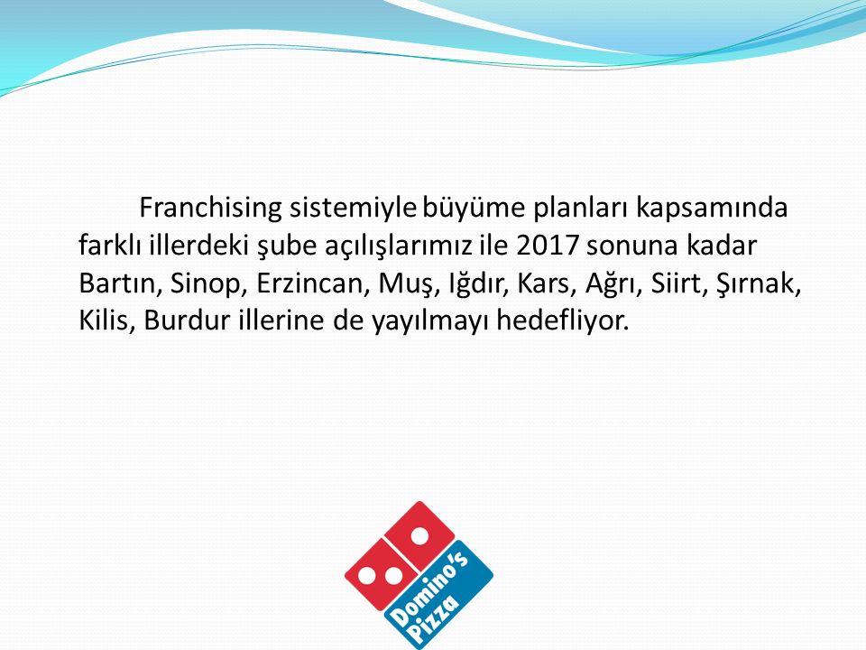 Franchising sistemiyle büyüme planları kapsamında farklı illerdeki şube açılışlarımız ile 2017 sonuna kadar Bartın, Sinop, Erzincan, Muş, Iğdır, Kars,