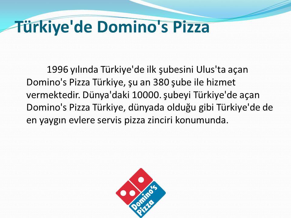 Türkiye'de Domino's Pizza 1996 yılında Türkiye'de ilk şubesini Ulus'ta açan Domino's Pizza Türkiye, şu an 380 şube ile hizmet vermektedir. Dünya'daki