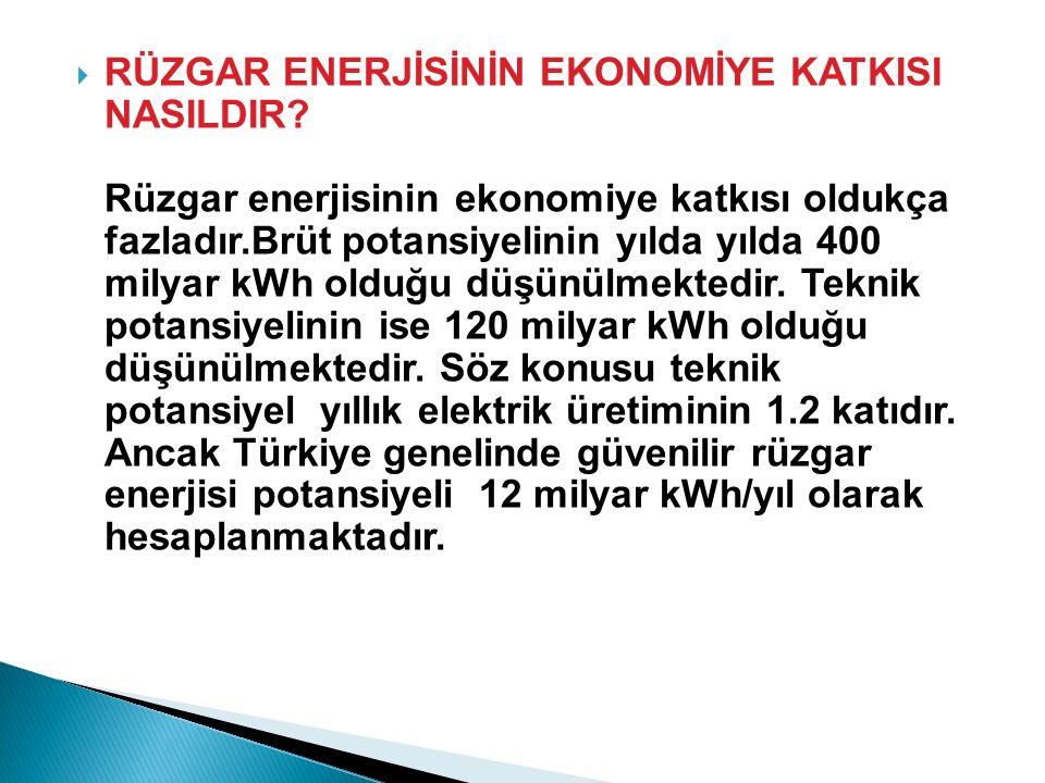  RÜZGAR ENERJİSİNİN EKONOMİYE KATKISI NASILDIR.