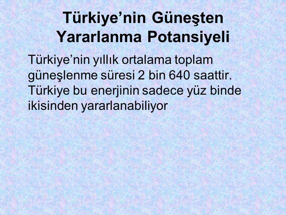 Türkiye'nin Güneşten Yararlanma Potansiyeli Türkiye'nin yıllık ortalama toplam güneşlenme süresi 2 bin 640 saattir.