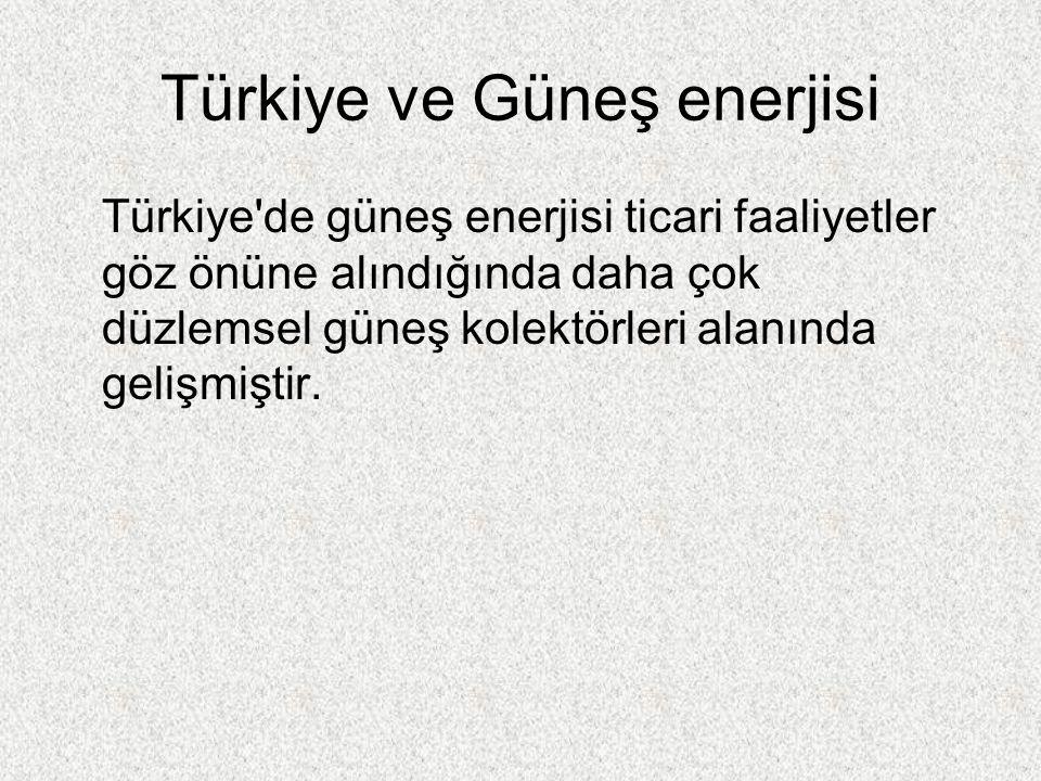 Türkiye ve Güneş enerjisi Türkiye de güneş enerjisi ticari faaliyetler göz önüne alındığında daha çok düzlemsel güneş kolektörleri alanında gelişmiştir.