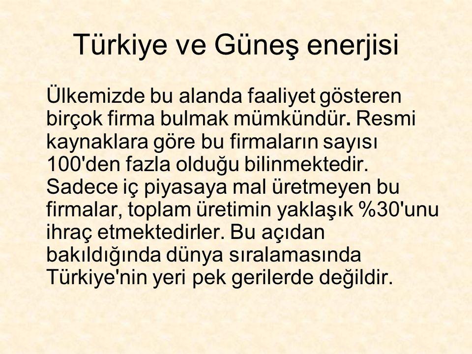 Türkiye ve Güneş enerjisi Ülkemizde bu alanda faaliyet gösteren birçok firma bulmak mümkündür.